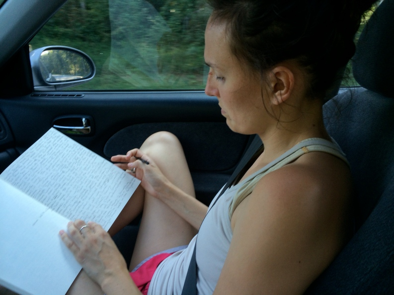 writing in car