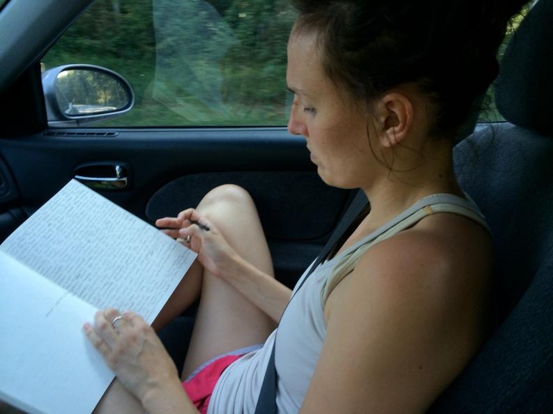 writing in car
